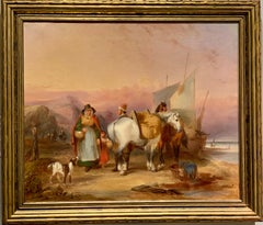 English early Victorian period, Figures on a beach with horses, dogs, people