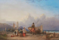 Fisherfolk On The Beach,  19th Century