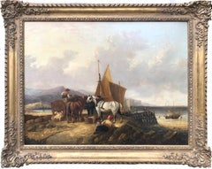 Oil Painting, Att to William Shayer, Seascape with Cart Horses