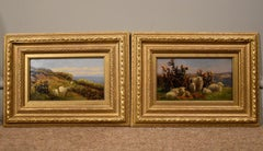 """Oil Painting pair by William Sidney Cooper """"Sheep in a Coastal Landscape"""""""