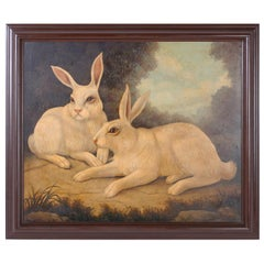 William Skilling Oil Painting on Canvas of Two Rabbits