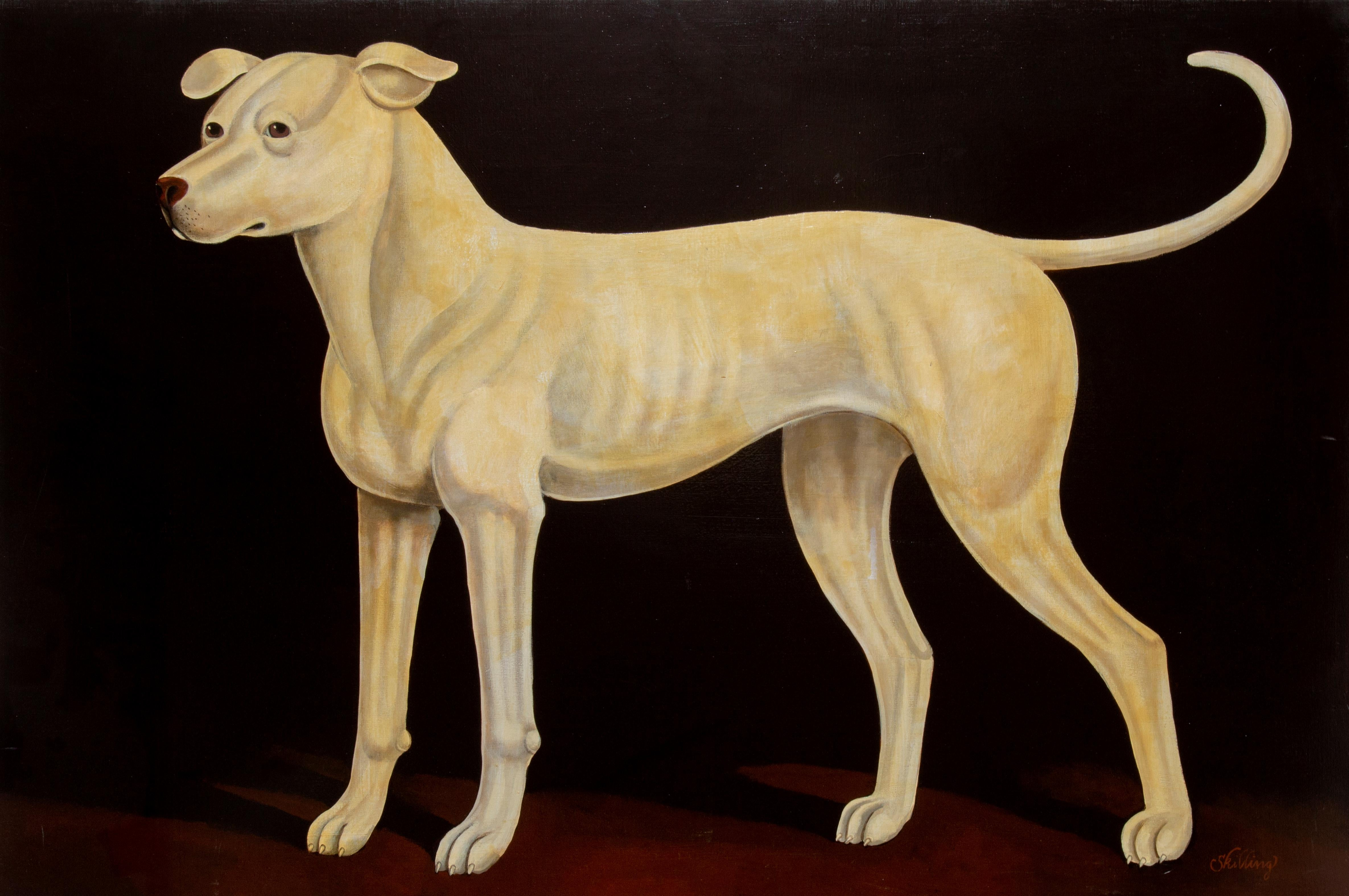 Irish Hound Dog, Realist Oil Painting