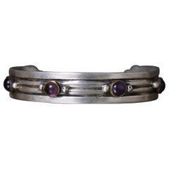 William Spratling Cuff Bracelet Sterling Silver Brass & Amethyst Taxco Mexico
