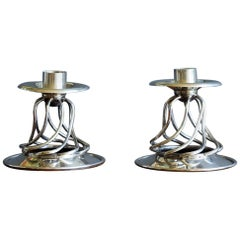 William Spratling Pair of Silver Candleholders
