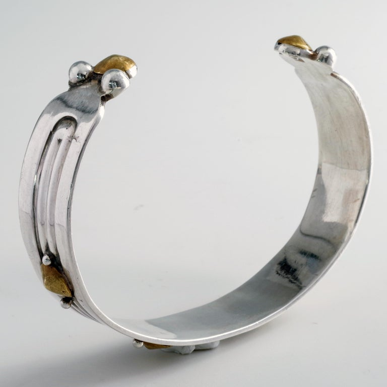 William Spratling Silver and Brass Cuff Bracelet Predates All His Iconic Work For Sale 2
