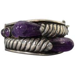 William Spratling Sterling Silver and Amethyst Bracelet