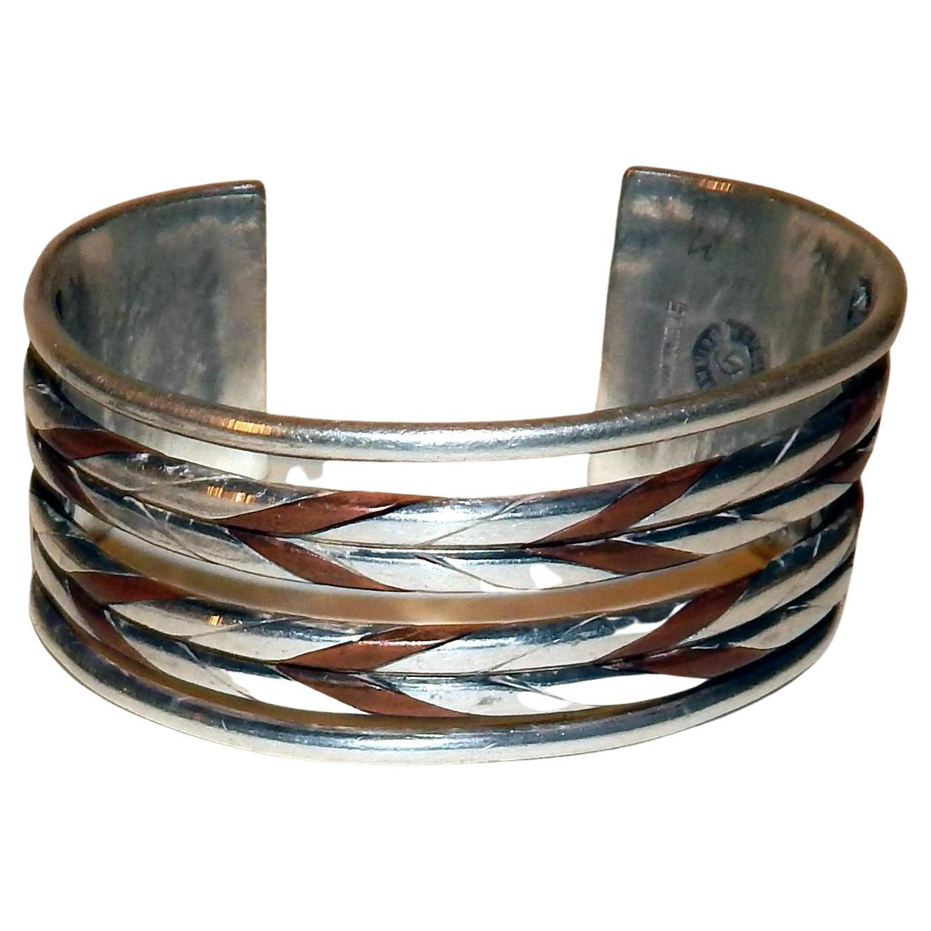 William Spratling Taxco Mexican Silver and Copper Cuff Bracelet, Modernist