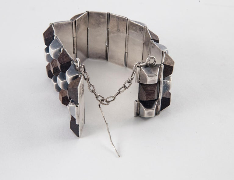 William Spratling Taxco Sterling Silver and Ebony Bracelet, 1940 In Good Condition For Sale In Norwalk, CT