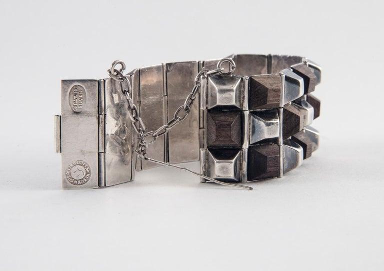 Women's or Men's William Spratling Taxco Sterling Silver and Ebony Bracelet, 1940 For Sale