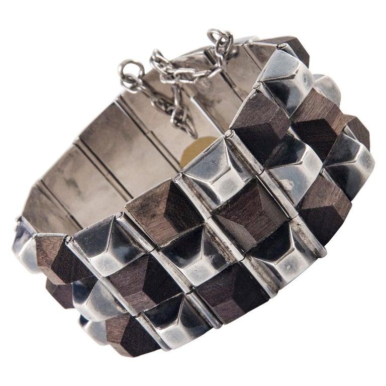 William Spratling Taxco Sterling Silver and Ebony Bracelet, 1940 For Sale