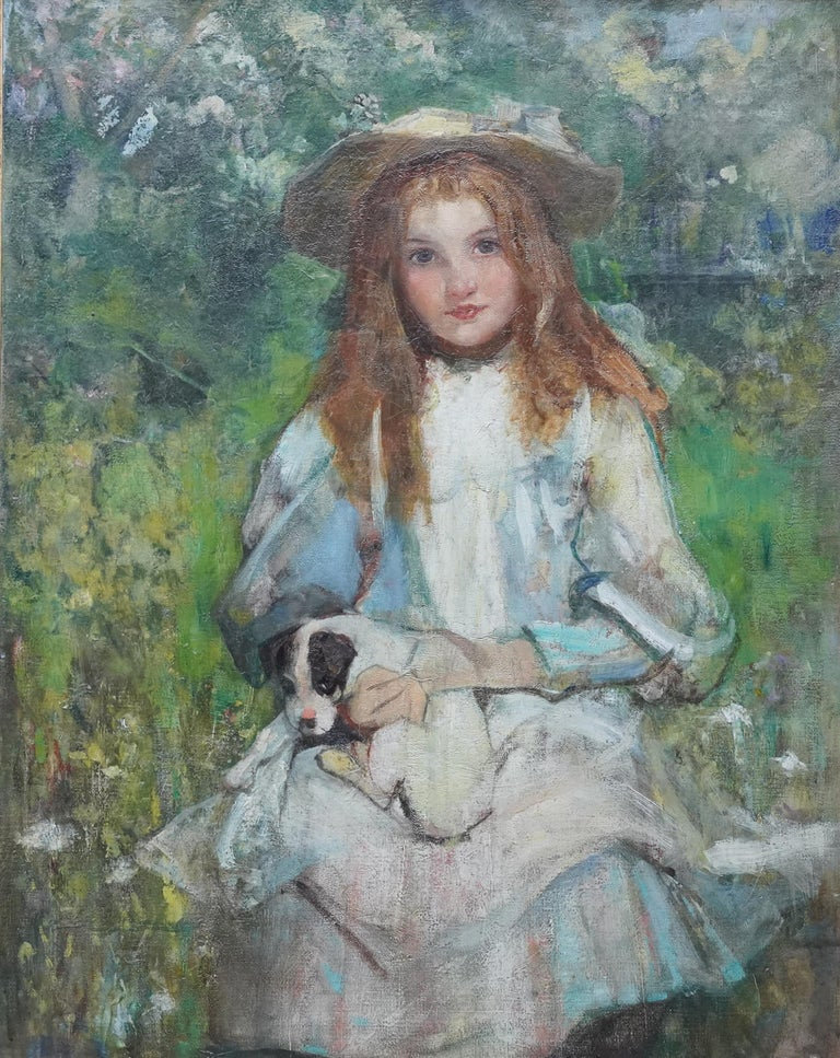 Portrait of a Girl with a Puppy - Scottish Edwardian art portrait oil painting For Sale 5