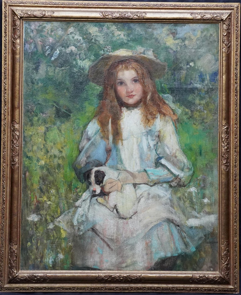 Portrait of a Girl with a Puppy - Scottish Edwardian art portrait oil painting For Sale 6
