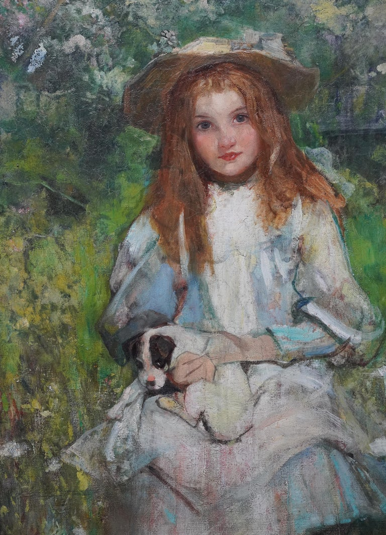 Portrait of a Girl with a Puppy - Scottish Edwardian art portrait oil painting - Realist Painting by William Stewart MacGeorge