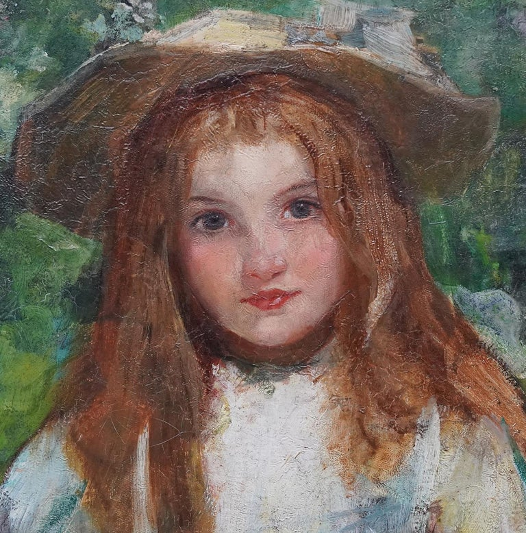 Portrait of a Girl with a Puppy - Scottish Edwardian art portrait oil painting - Gray Portrait Painting by William Stewart MacGeorge