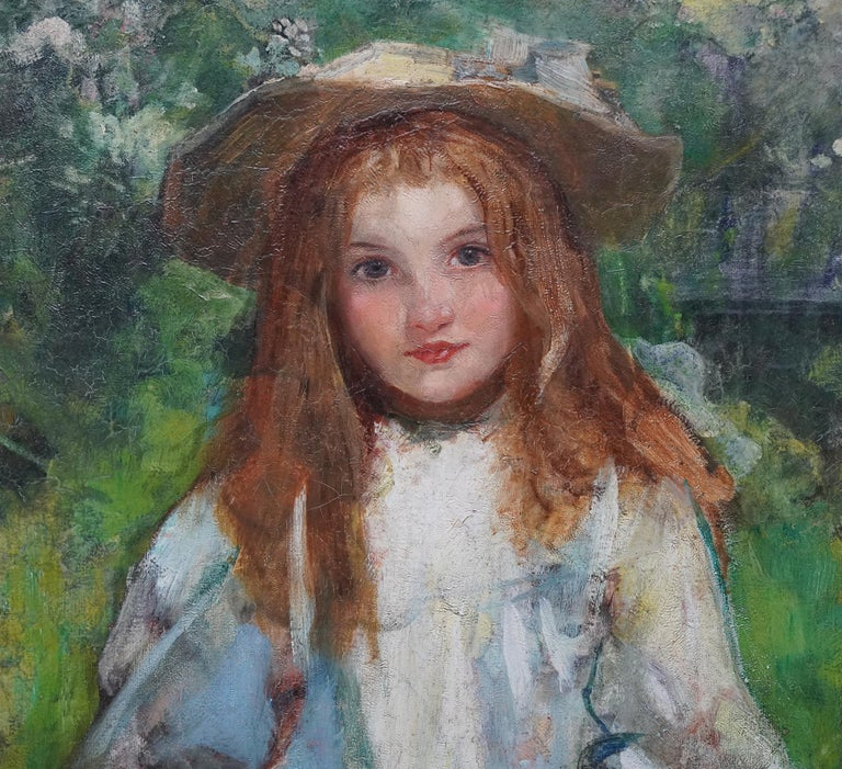 This stunning Edwardian portrait oil painting is attributed to Scottish Kirkcudbright School artist William Stewart MacGeorge. Painted circa 1910, The painting shows the influences of the Glasgow Boys and Kirkubright School of artists and of Hornel