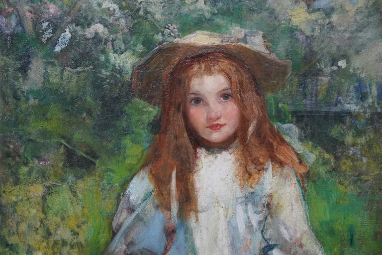 Portrait of a Girl with a Puppy - Scottish Edwardian art portrait oil painting For Sale 1