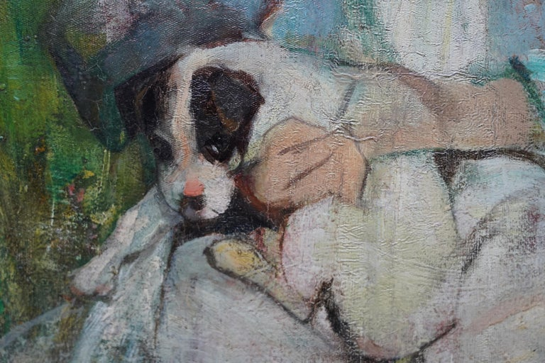 Portrait of a Girl with a Puppy - Scottish Edwardian art portrait oil painting For Sale 2