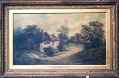 "English Landscape Oil Painting by William R. Stone Jr. ""A Lane in Kent"""