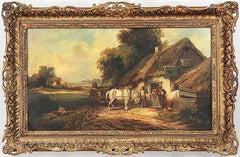 "William R. Stone Landscape Oil Painting Entitled ""Black Horse Tavern"""
