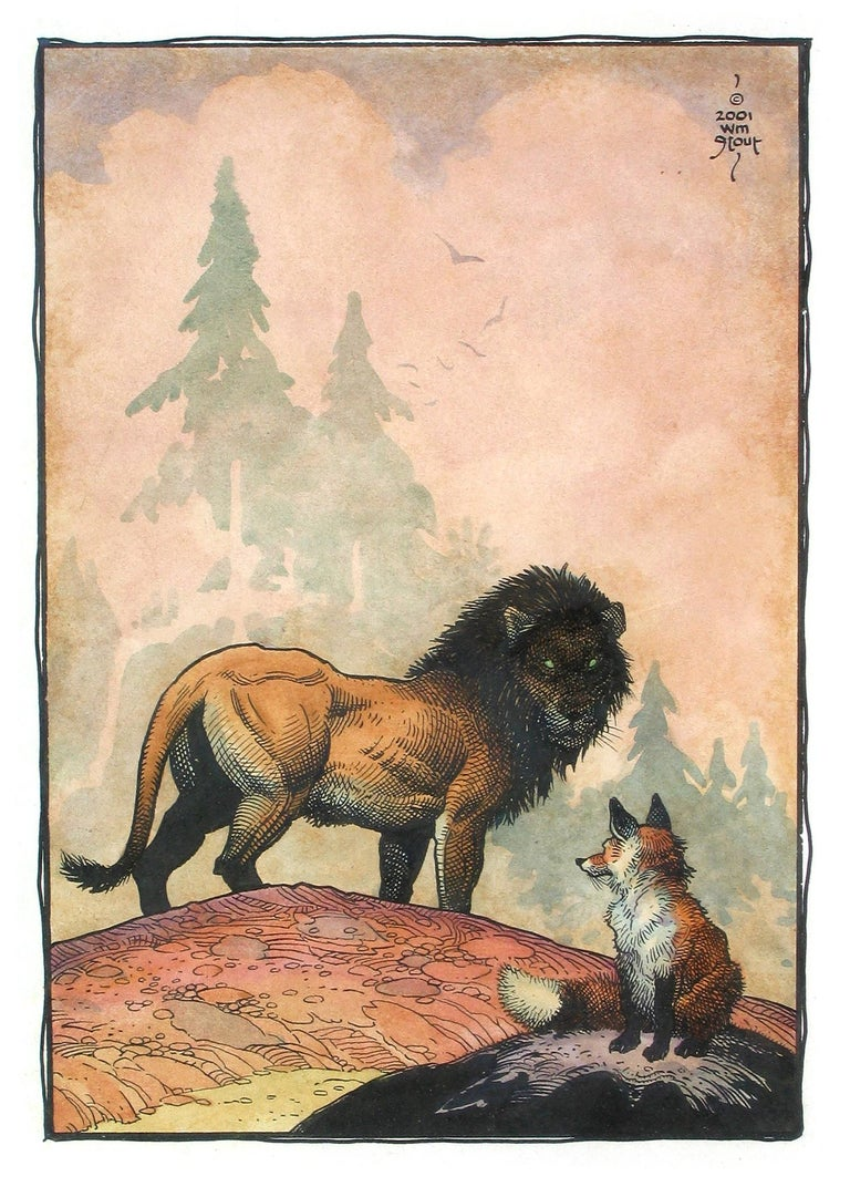 William Stout The Fox And The Lion Painting For Sale At