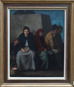 At the Foot of the Statue - Scottish Impressionist oil painting seated figures