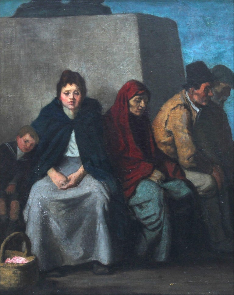 At the Foot of the Statue - Scottish art Impressionist figurative oil painting  - Black Portrait Painting by William Strang, R.A., R.E.