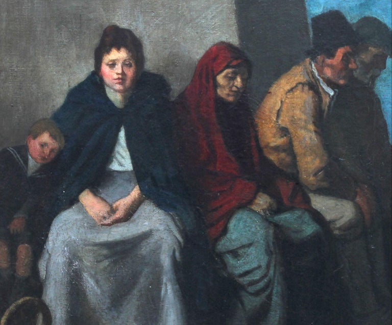 A fine large oil painting by Scottish listed artist William Strang. This is a super evocative oil on canvas which depicts a family at