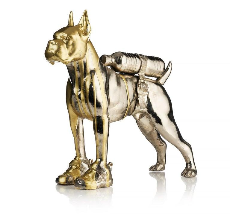 William Sweetlove Figurative Sculpture - Cloned Bulldog with pet bottle