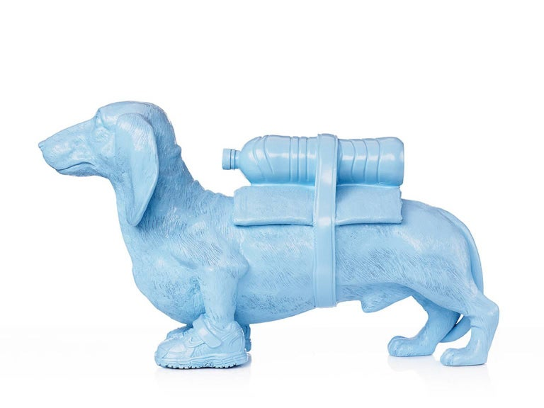 Cloned Dachshund with pet bottle.  - Sculpture by William Sweetlove