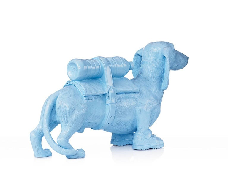 Cloned Dachshund with pet bottle.  - Pop Art Sculpture by William Sweetlove