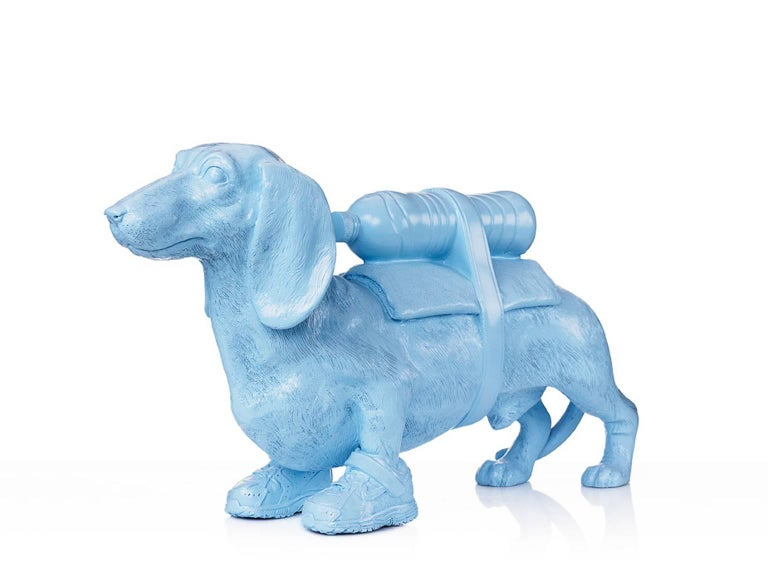 William Sweetlove Figurative Sculpture - Cloned Dachshund with pet bottle.