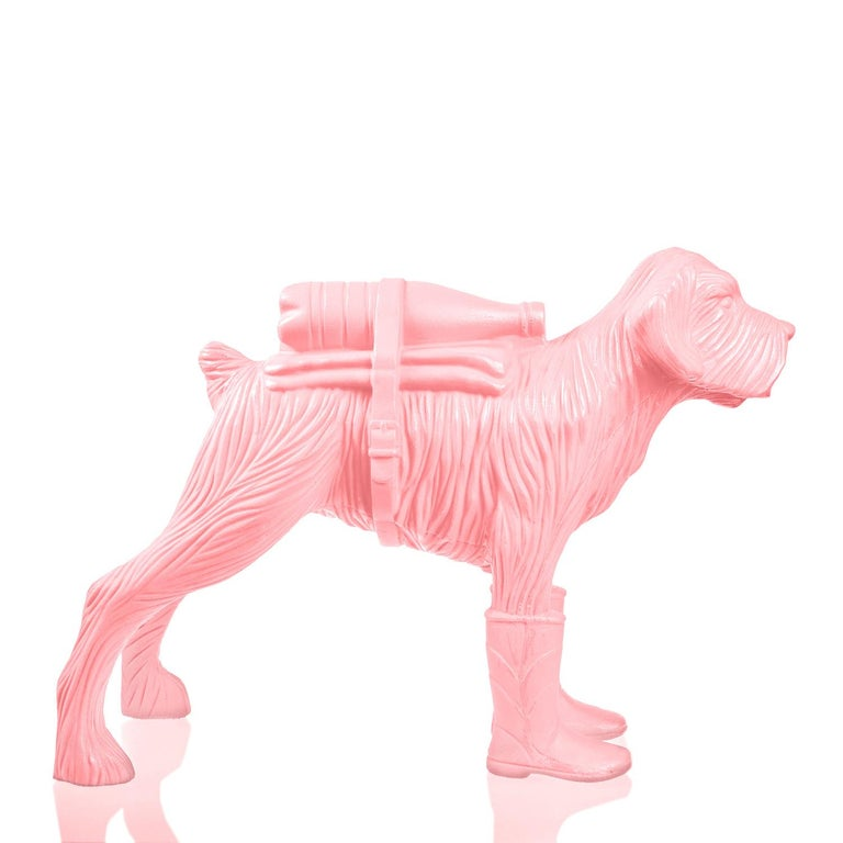 Cloned Schnauzer with water bottle  - Pink Figurative Sculpture by William Sweetlove