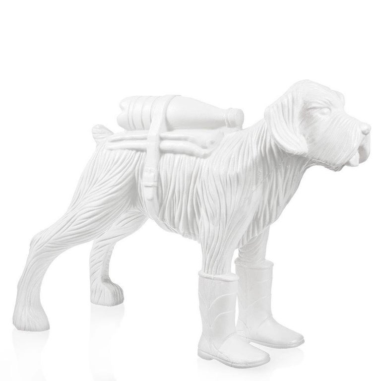 Cloned Schnauzer with water bottle  - Sculpture by William Sweetlove