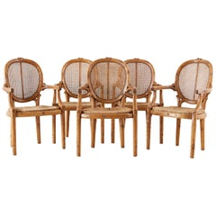 William Switzer Faux Bois Cane and Rush Seat Armchairs