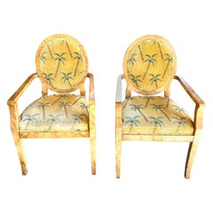 William Switzer Pair of Olivewood Armchairs W/Palm Tree Pattern