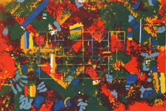 Orange Geometric Abstract Serigraph by William Taggart