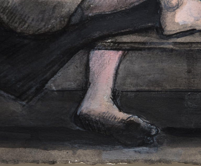 A painting by William Theophilus Brown. An Untitled ink and acrylic washes on paper executed in blacks, grays and white, depicting a nude woman sitting in a chair by Post War artist William Theophilus Brown. Signed in pencil, lower right,