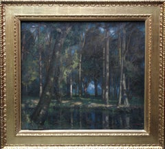 Wooded Landscape Stream - British art Edwardian Impressionist oil painting