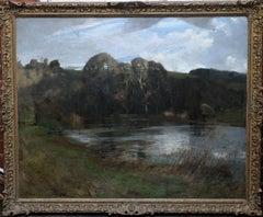 River Landscape - Arun Sussex - British art 1950 landscape oil painting Arundel