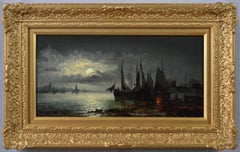 19th Century moonlight seascape oil painting of ships