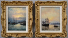 Pair of 19th Century seascape oil paintings of shipping on the Medway