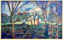 GOING TO CHURCH Signed Lithograph, Southern Landscape, African American Heritage