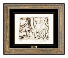 William Tolliver Original Hand Signed Etching Nude Female Portrait Framed Art