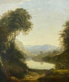 Fine 1800's Original Oil Painting Figure in Arcadian Landscape Golden Light