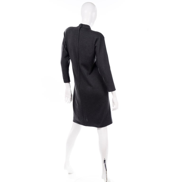 Women's William Travilla Vintage 1970s Charcoal Gray Wool Blend Day Dress w Scarf Tie For Sale