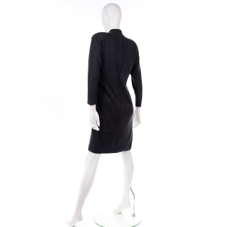 William Travilla Vintage 1970s Charcoal Gray Wool Blend Day Dress w Scarf Tie For Sale 2