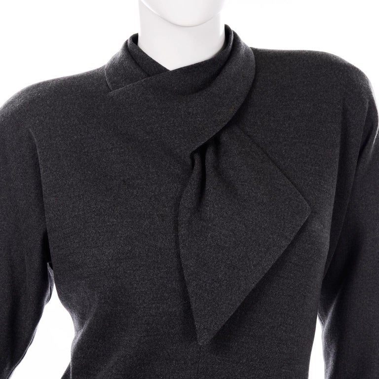 William Travilla Vintage 1970s Charcoal Gray Wool Blend Day Dress w Scarf Tie For Sale 4