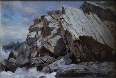 """Cormorant Rock, Conanicut Island, Rhode Island"" Hudson River School Seascape"