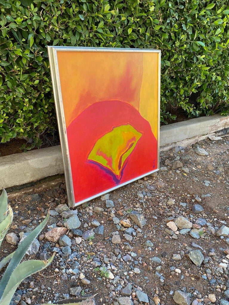 Abstract floral painting by famed Arizona architect, and artist William Tull (1924-2000). Signed and dated 1981. Acrylic on canvas. Original silver leaf frame.