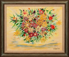 """The Gift"" Framed Watercolor on Paper Floral Still Life by William Verdult"